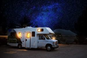 Rv Camper under a Starry Sky