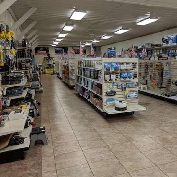 Aisles of RV parts in RV retail store
