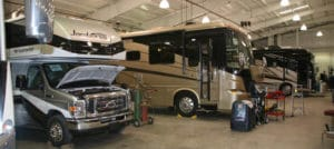 Class C and Class A motorhomes being fixed in RV repair shop
