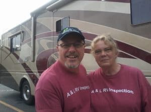 Laura and Al with our previous Holiday Rambler Motorhome.